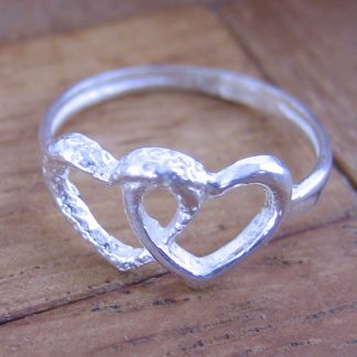Anillo Sortija Corazon Doble