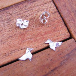 Pendientes Pajarita Pequeños de Plata de 1ª Ley 925 ml (origami)