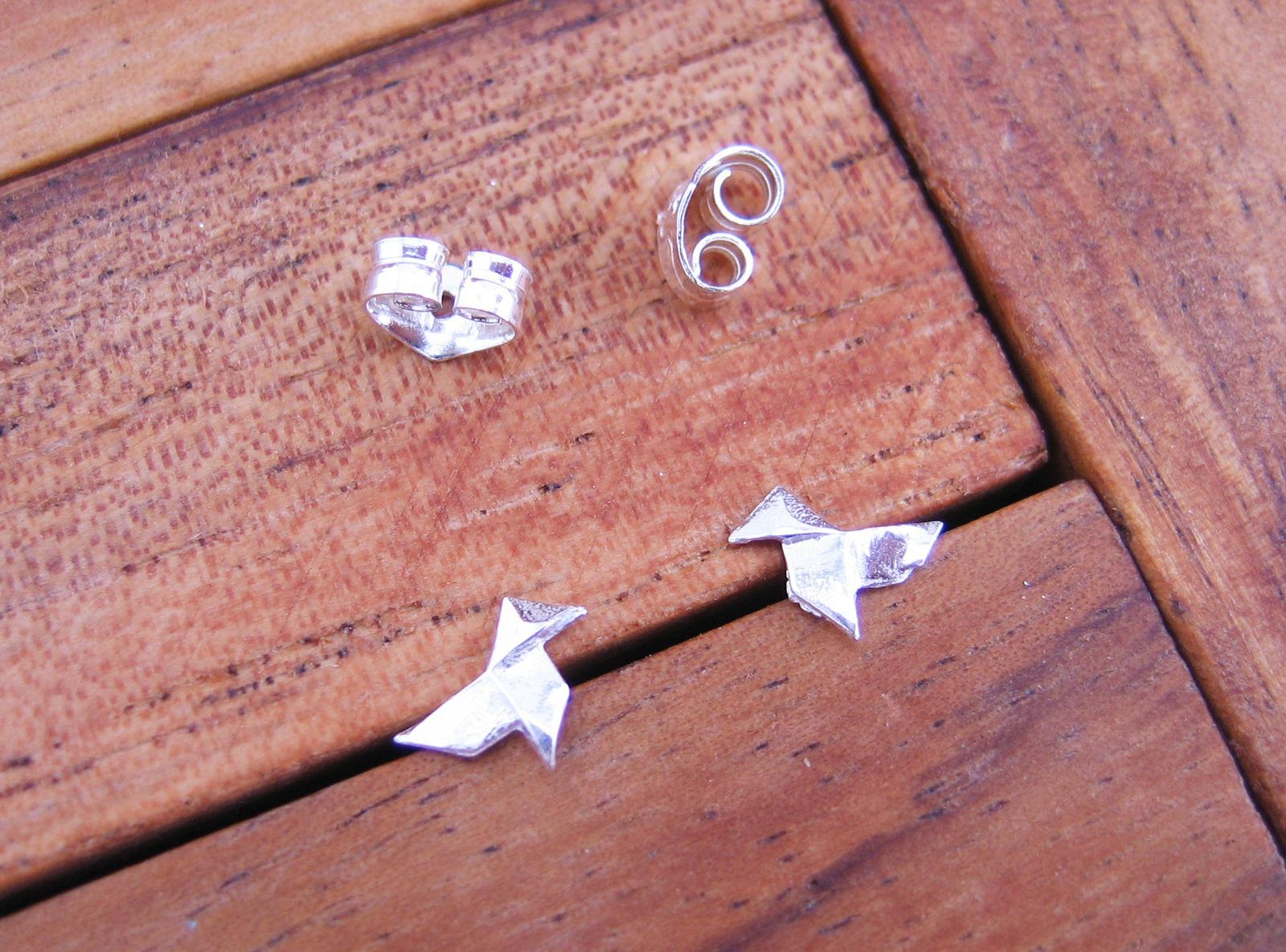 Boutique en ligne 4e2c7 447c9 Pendientes Pajarita Pequenos de Plata de Ley 925 ml (origami)