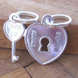 Colgante Corazón con Llave (son dos colgantes) de Plata de 1ª Ley 925 ml