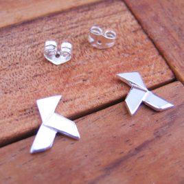 Pendientes Pajarita Grande de Plata de 1ª Ley 925 ml (origami)