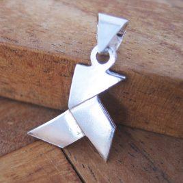 Colgante Pajarita Pequeño de Plata de 1ª Ley 925 ml (origami)