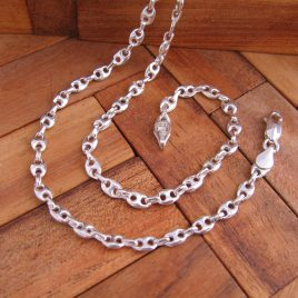 Collar Cadena Calabrote fino 60 cm en Plata de Ley 925 ml