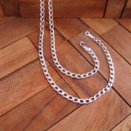 Collar Cadena Barbada Plana 50 cm en Plata de 1ª Ley 925 ml