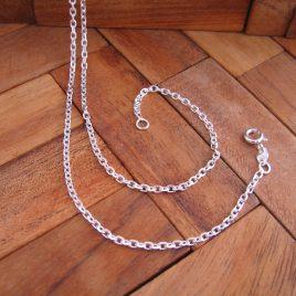 Collar Cadena Forzada 2,0 mm x 50 cm de Plata de 1ª Ley 925 ml