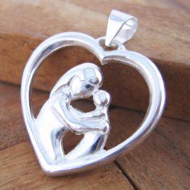 Colgante Corazón Madre Grande de Plata de 1ª Ley 925 ml