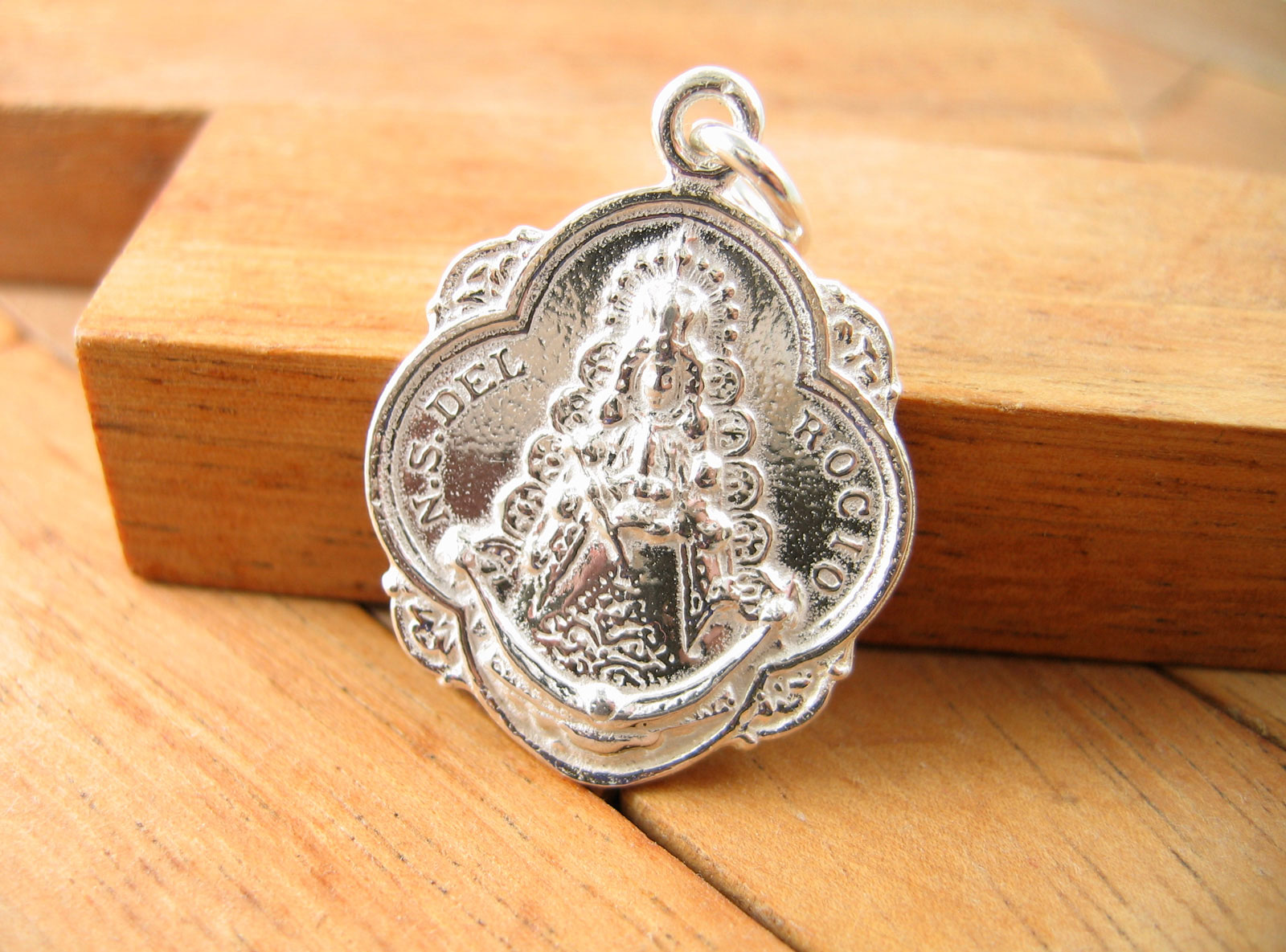 Medalla Pandereta Virgen Del Rocio De Plata De 1ªley 925 Ml