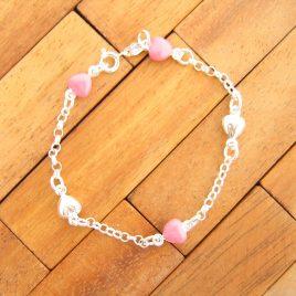 Pulsera Corazones esmalte rosa de Plata de Ley 925ml