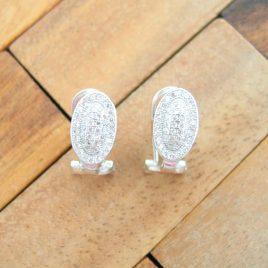 Pendientes Omega Oval con Circonitas de Plata de Ley 925ml