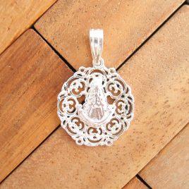 Colgante Roseton Pequeño de Virgen del Rocio de Plata de Ley 925ml