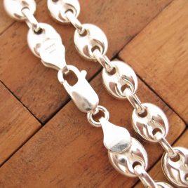 Collar Cadena Calabrote Hueco Grande 50 cm de Plata de Ley 925ml