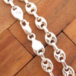 Collar Cadena Calabrote Hueco Mediano 50 cm de Plata de Ley 925ml
