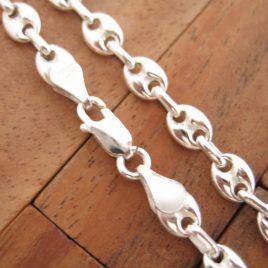 Collar Cadena Calabrote Hueco Pequeño 50 cm de Plata de Ley 925ml