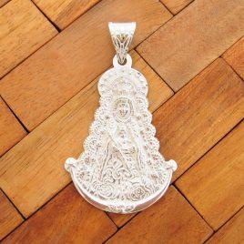 Colgante Medalla Virgen del Rocio Grande de Plata de Ley 925ml