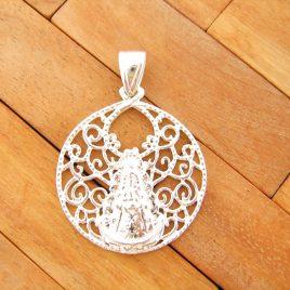 Colgante Medalla Labrada Virgen del Rocio de Plata de Ley 925ml