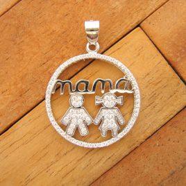 Colgante Mamá Niño y Niña Circonitas y Plata de Ley 925ml
