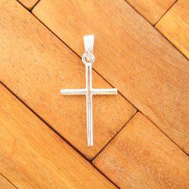 Colgante cruz palo lisa plata