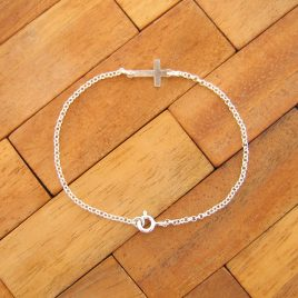 Pulsera Cruz Lisa de Plata de Ley 925ml