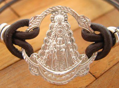 Pulsera Pandereta Virgen del Rocio Cuero de Plata de Ley 925ml