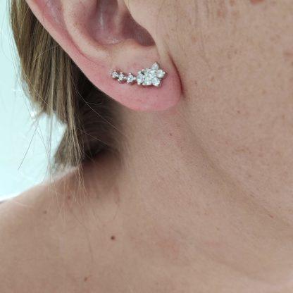 Pendientes Trepadores Estrellas con Circonitas de Plata de Le 925ml