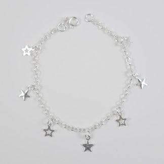 Pulsera Estrellas Colgantes Plata Ley 925ml