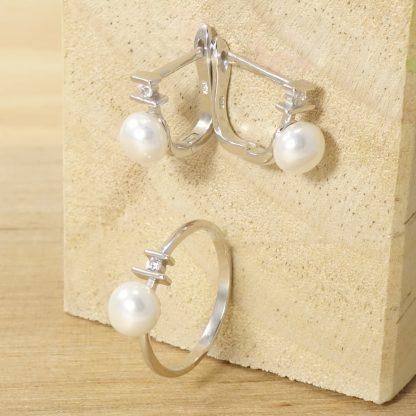 Conjunto de Comunión de Pendientes y Anillo con perla y circonita de Plata de Ley 925