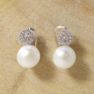Pendientes Perla Cultivada con Roseton de Circonitas con cierre omega de Plata de Ley 925