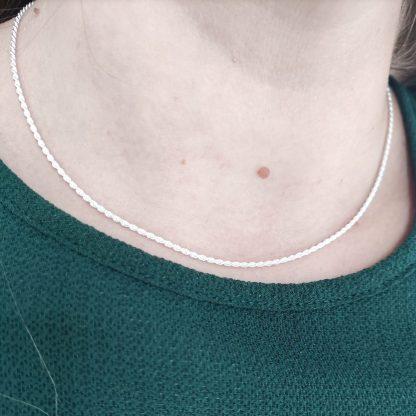 Collar Cadena Cordón Salomónico de 40 cm de Plata de Ley 925